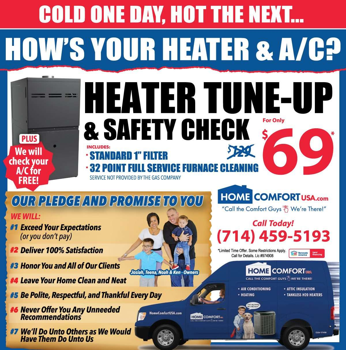 Home Comfort USA Heater Tune Up