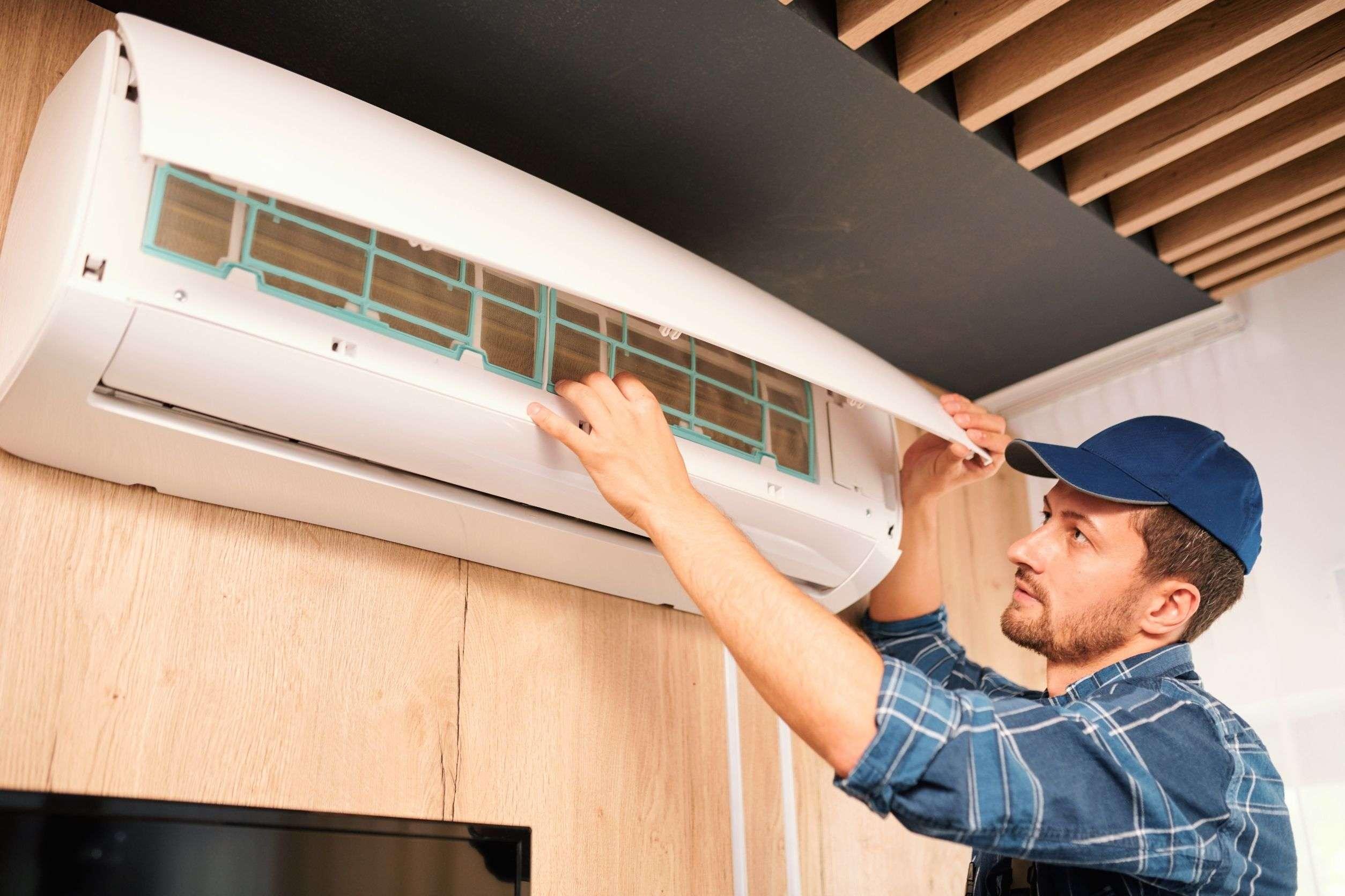 Tech taking care of AC repairs